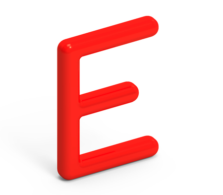 3D render red alphabet E, thin and plastic texture 3D font design Stock Photo