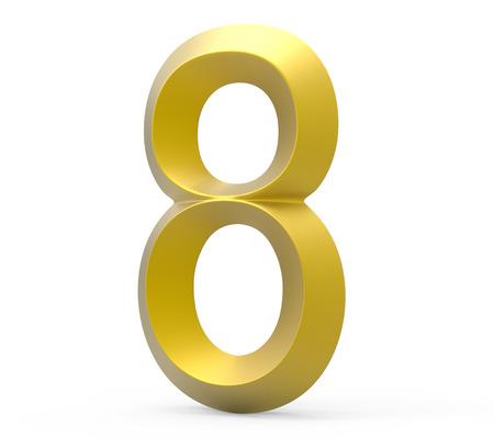 3D render golden beveled number 8, retro 3D figure design