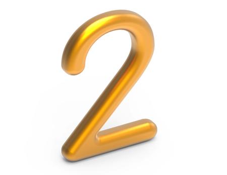 3D render golden number 2, thin and plastic texture 3D figure design