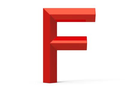 3D render red beveled alphabet F, retro 3D font design