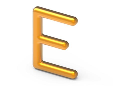 3D render metallic alphabet E, thin and glossy golden 3D font design Фото со стока