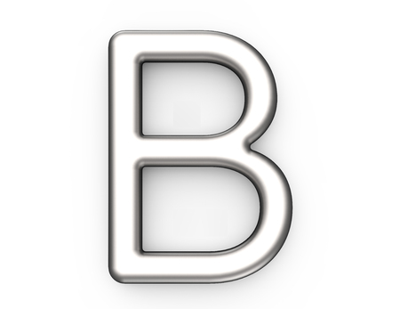 3D render metallic alphabet B, thin and glossy platinum 3D font design 版權商用圖片
