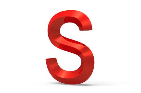 3D render rode afgeschuind alfabet S, retro 3D-lettertype ontwerp