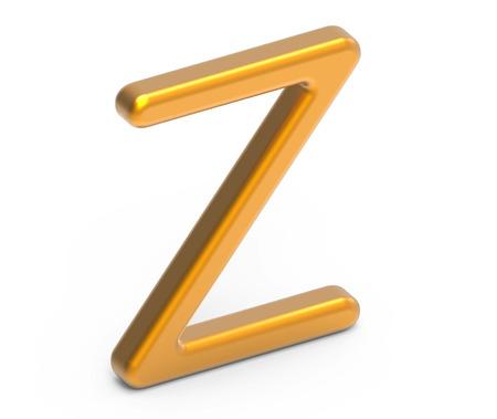 3D renderizar alfabeto metálico Z, design de fonte 3D dourado fino e brilhante Foto de archivo - 88746019