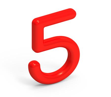 3 D レンダラ ・赤ナンバー 5、薄くて、プラスチックの質感 3 D 図設計
