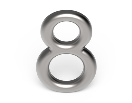 3D render metallic number 8, thin and glossy silver 3D figure design Stock Photo - 88746021