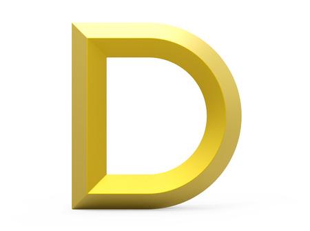 3D render golden beveled alphabet D, retro 3D font design
