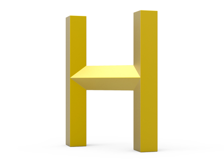 3D render golden beveled alphabet H, retro 3D font design