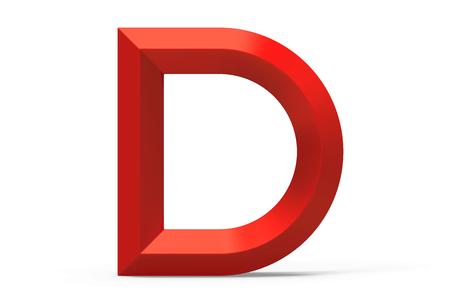 3D render red beveled alphabet D, retro 3D font design