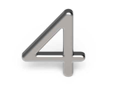 3D render metallic number 4, thin and glossy silver 3D figure design