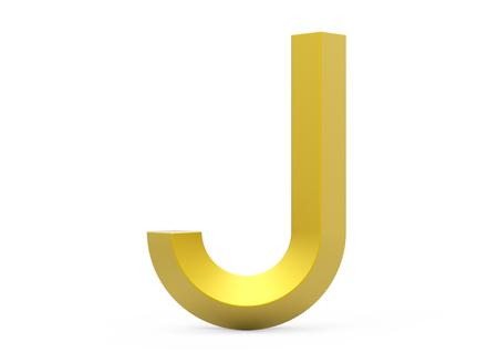 3D render golden beveled alphabet J, retro 3D font design Stock Photo