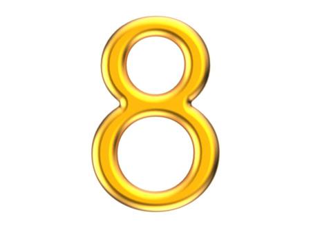 3D rinden el número de oro 8, el diseño delgado y plástico de la figura 3D de la textura Foto de archivo - 88746293