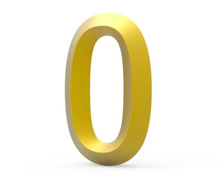 3D render golden beveled number 0, retro 3D figure design
