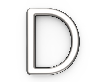 3D render metallic alfabet D, dun en glanzend platina 3D-lettertype ontwerp