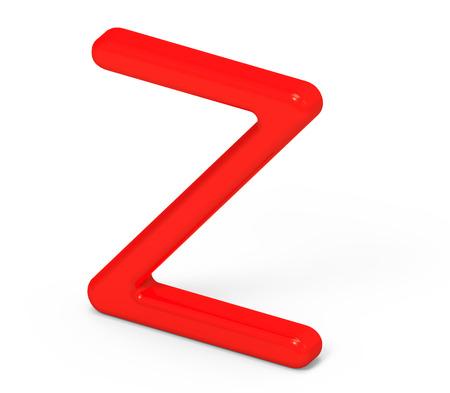 3D render red alphabet Z, thin and plastic texture 3D font design