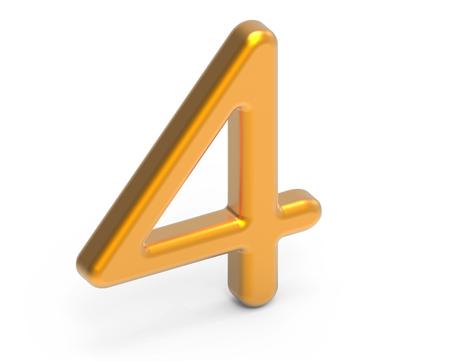 3D render golden number 4, thin and plastic texture 3D figure design