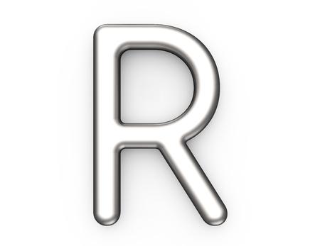 3D render metallic alfabet R, dunne en glanzende platina 3D-lettertype ontwerp