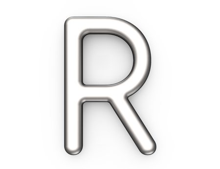 3D render metallic alphabet R, thin and glossy platinum 3D font design 版權商用圖片