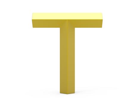 3D render golden beveled alphabet T, retro 3D font design
