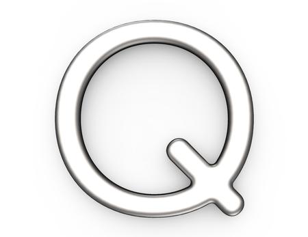 3D 렌더링 금속 알파벳 Q, 얇고 광택 플래티넘 3D 글꼴 디자인 스톡 콘텐츠