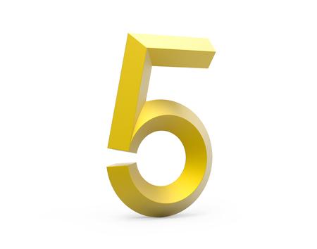 3D render golden beveled number 5, retro 3D figure design
