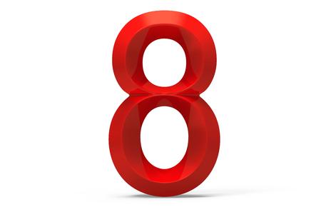 3D render red beveled number 8, retro 3D figure design