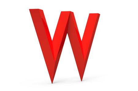 3D übertragen rotes abgeschrägtes Alphabet W, Retro- Gussdesign 3D Standard-Bild - 88746414