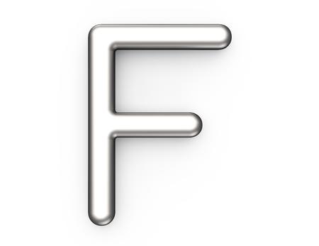 3D 렌더링 금속 알파벳 F, 얇고 광택 플래티넘 3D 글꼴 디자인