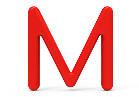 3D render red alphabet M, thin and plastic texture 3D font design Stock Photo