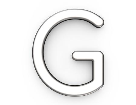 3D 렌더링 금속 알파벳 G, 얇고 광택있는 플래티넘 3D 글꼴 디자인