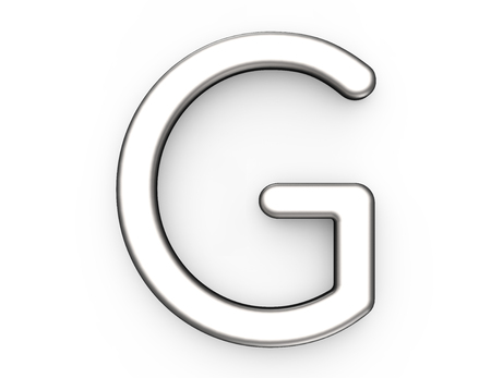 3D render metallic alfabet G, dunne en glanzende platina 3D-lettertype ontwerp
