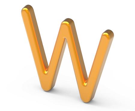3D render metallic alphabet W, thin and glossy golden 3D font design