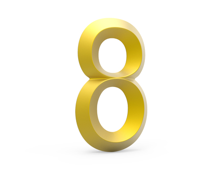 3D render golden beveled number 8, retro 3D figure design