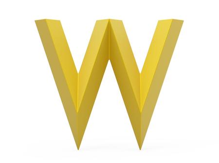 3D render golden beveled alphabet W, retro 3D font design Reklamní fotografie