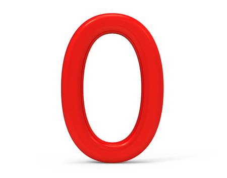 3D render rote Zahl 0, dünn und Kunststoff Textur 3D-Figur-Design Standard-Bild - 88747521