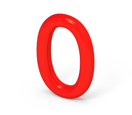 3D render rote Zahl 0, dünn und Kunststoff Textur 3D-Figur-Design Standard-Bild - 88747524