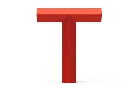 3D render red beveled alphabet T, retro 3D font design