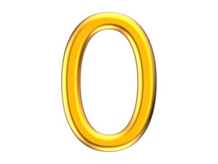 3D render golden number 0, thin and plastic texture 3D figure design Stock fotó