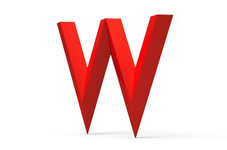 3D übertragen rotes abgeschrägtes Alphabet W, Retro- Gussdesign 3D Standard-Bild - 88747549