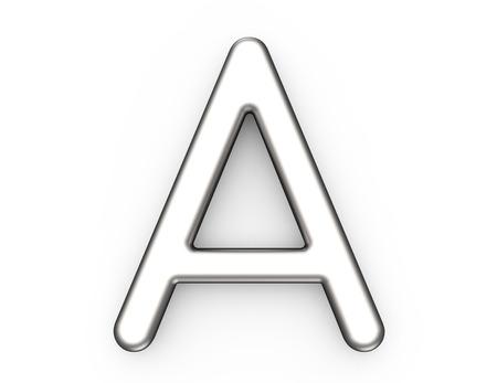 3D 렌더링 금속 알파벳 A, 얇고 광택 플래티넘 3D 글꼴 디자인 스톡 콘텐츠