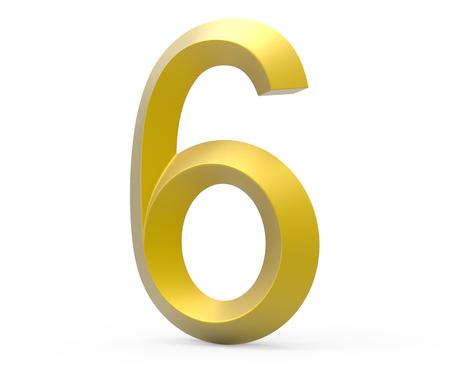 3D render golden beveled number 6, retro 3D figure design