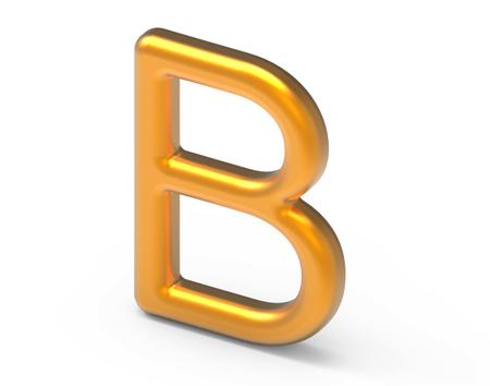 3D render metallic alphabet B, thin and glossy golden 3D font design Фото со стока