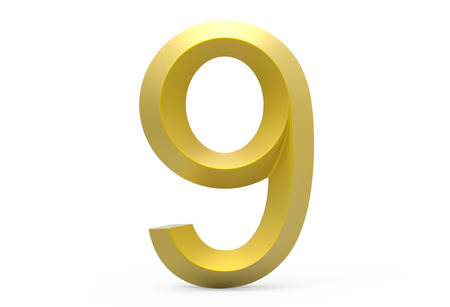 3D render golden beveled number 9, retro 3D figure design