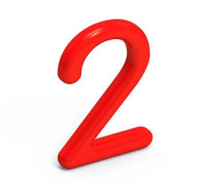 3 D レンダラ ・赤ナンバー 2、薄くて、プラスチックの質感 3 D 図設計 写真素材