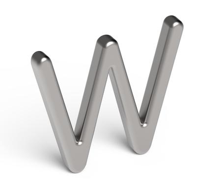 3D render metallic alphabet W, thin and glossy silver 3D font design Reklamní fotografie