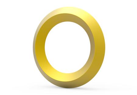3D render golden beveled alphabet O, retro 3D font design
