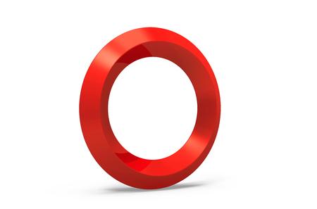 3D render red beveled alphabet O, retro 3D font design