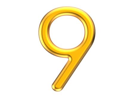 3D render golden number 9, thin and plastic texture 3D figure design