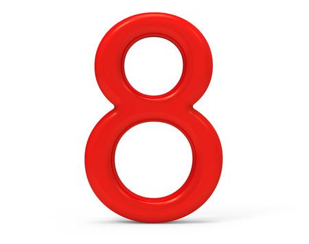 3D render rood nummer 8, dun en kunststof textuur 3D figuur ontwerp Stockfoto
