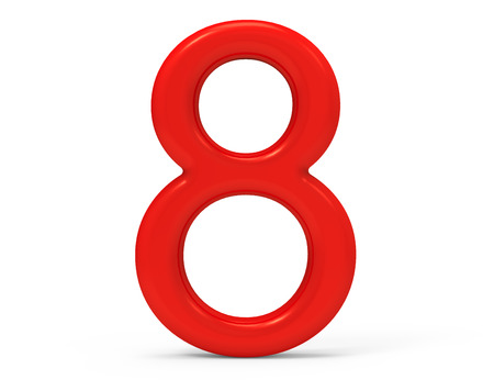 3D render rote Nummer 8, dünn und Kunststoff Textur 3D-Figur-Design Standard-Bild - 88747740